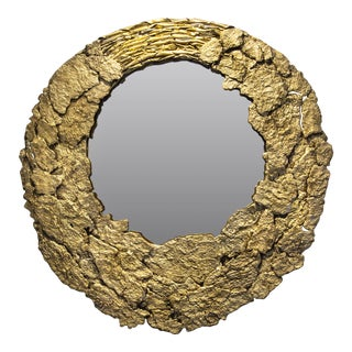 Ecorce Gold Mirror by Christine Rouviere For Sale