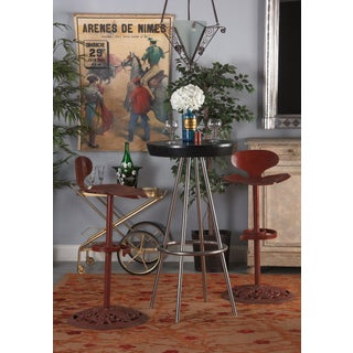 Vintage Mid Century French Artisanal Red Iron Bar Stools- A Pair Preview