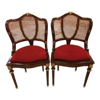 Pair of Bronze-Mounted Louis XVI Style Dining Chairs Manner of Jansen For Sale
