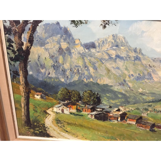 Village Mountain Scene Oil Painting Signed E Rosset For Sale - Image 4 of 10