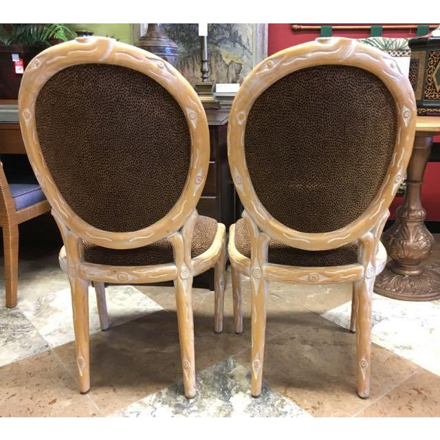 Boho Chic Faux Bois Brown Velvet Side Chairs - Set of 4 For Sale In Tampa - Image 6 of 12