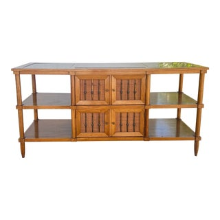 Mid 20th Century Sophisticate by Tomlinson Credenza with Marble Top Inset & Open Shelving For Sale
