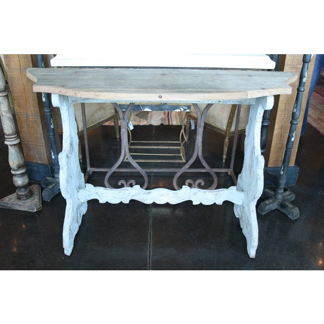 Italian Demilune Trestle Style Console Table For Sale - Image 4 of 9