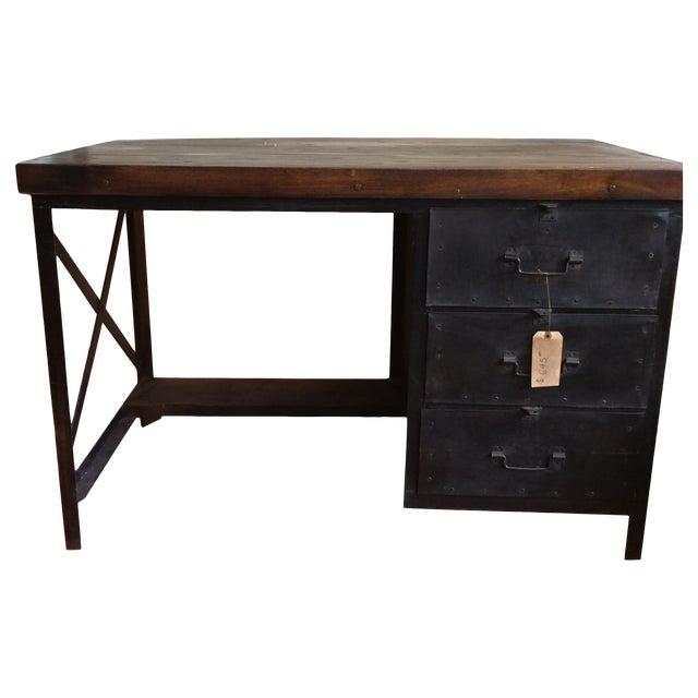 Metal and Wood Industrial Desk - Image 1 of 7