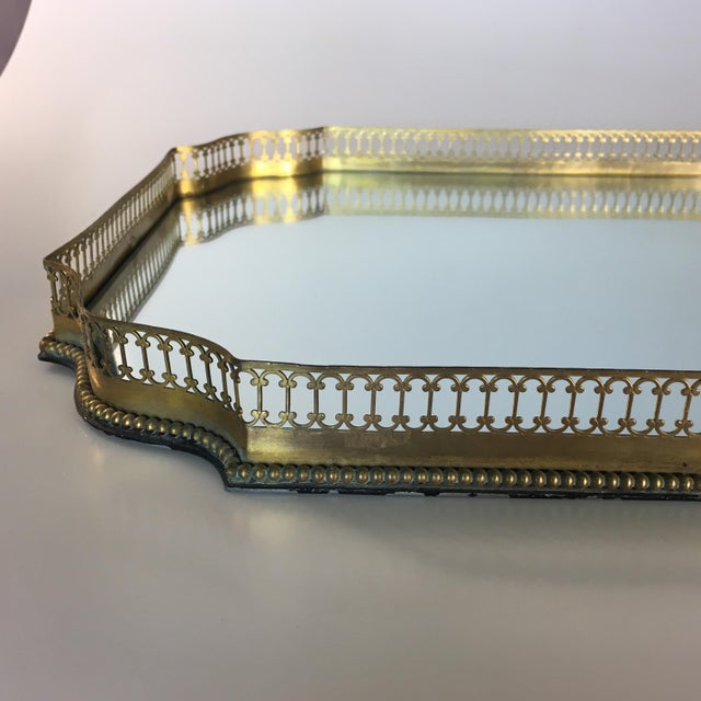 Traditional Mirrored Gold Reticulated Plateau Tray For Sale - Image 3 of 5