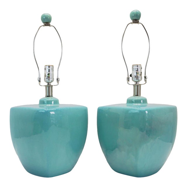 Modern Turquoise Ceramic Table Lamps - a Pair For Sale