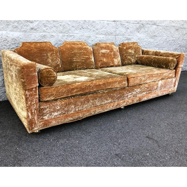 Mid Century Gold Crushed Velvet Rolling Sofa For Sale - Image 11 of 11