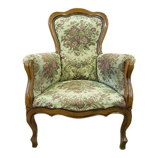 French Provincial Floral Needlepoint Tapestry Bergere For Sale