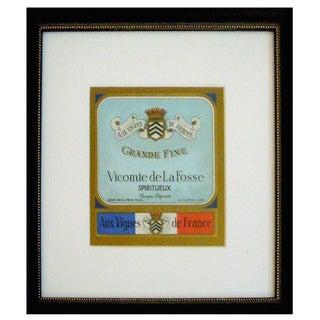 Framed French Vintage Wine Label Vlf For Sale