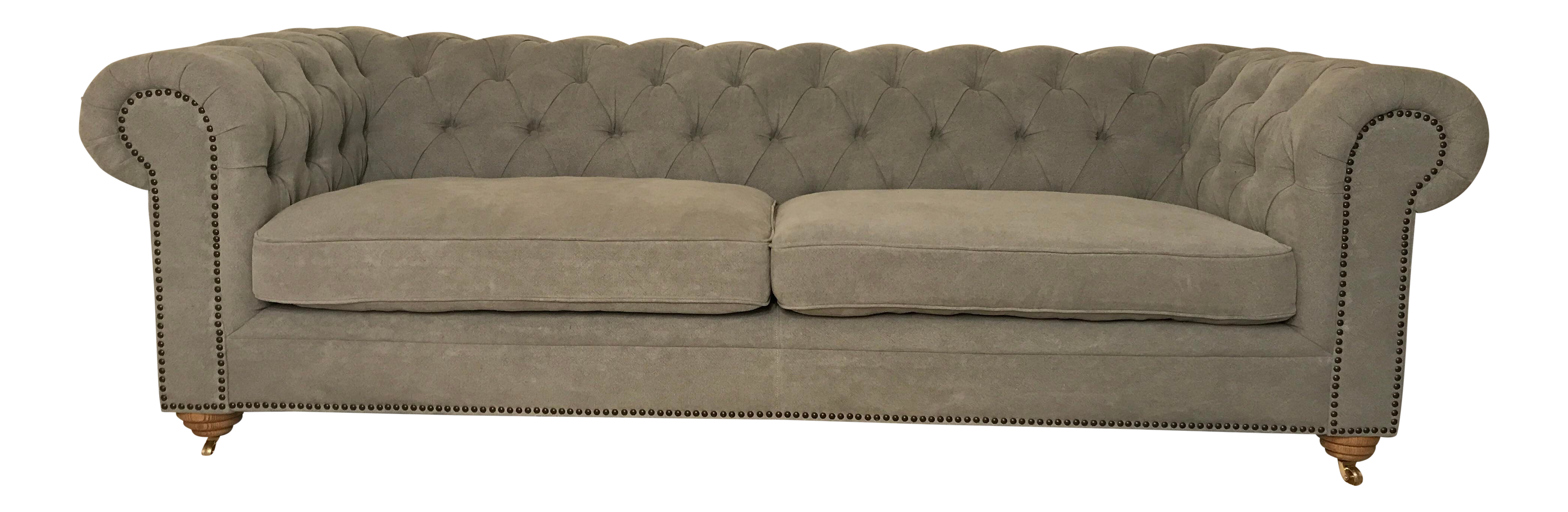 Modern Gray Washed Linen Chesterfield Style Sofa Chairish