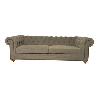 Modern Gray Washed Linen Chesterfield Style Sofa For Sale