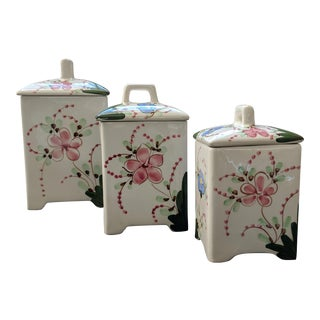 Andrea by Sadek Jay Willfred Porcelain Painted Canisters - Set of 3 For Sale