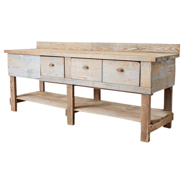 Rustic American Pine Three-Drawer Workbench Table For Sale