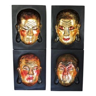 Vintage Face Impressions, Red and Gold Buddha Blocks - Wall Hangings - Set of 4 For Sale