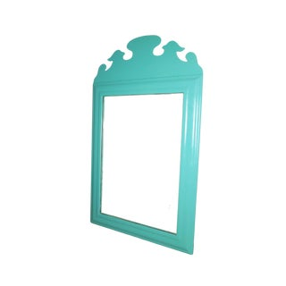 Vintage Refurbished Chippendale Turquoise Painted Mirror For Sale