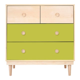 Lukka Modern Kids 4-Drawer Dresser in Maple With Green Finish For Sale