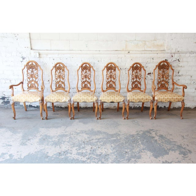 Brown 1960s Romweber Ornate Burl Wood French Carved Extension Dining Table & Six Chairs - Set of 6 For Sale - Image 8 of 13