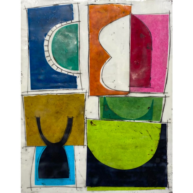 """Wood """"Based on a True Story"""" Encaustic Collage Painting by Gina Cochran For Sale - Image 7 of 7"""