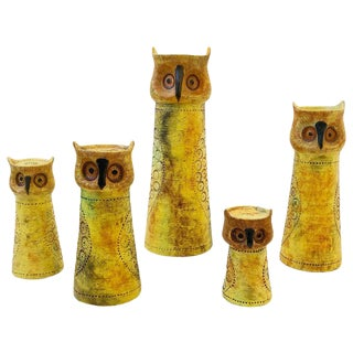 Italian Ceramic Owls Candleholders by Aldo Londi for Bitossi - Set of 5 For Sale