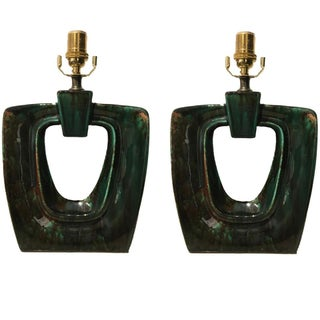 Glossy Forest Green Table Lamps - A Pair For Sale