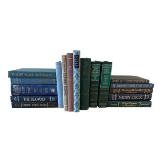 Vintage Classic Collection of Blue & Green Hardcover Books - Set of 17 For Sale