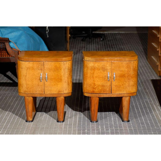 Art Deco Exquisite Restored Pair Of Art Deco Small Cabinets In Walnut For Sale - Image 3 of 10