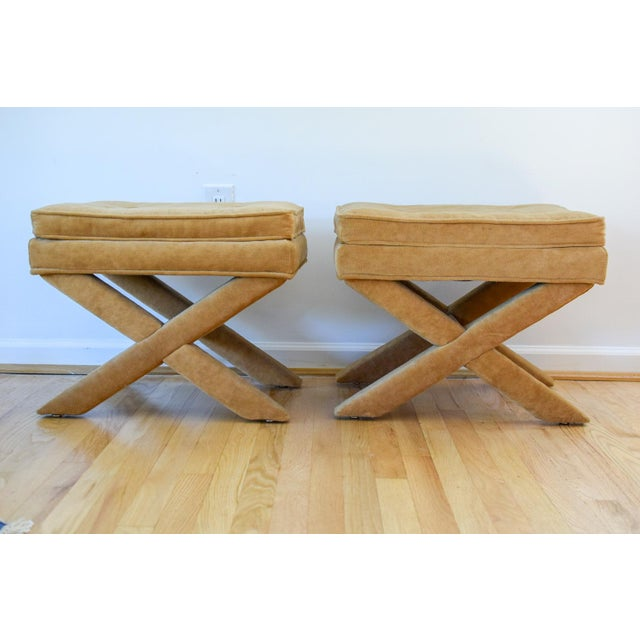 """Vintage Mid Century Tan Mohair """"X"""" Benches- A Pair For Sale - Image 12 of 12"""