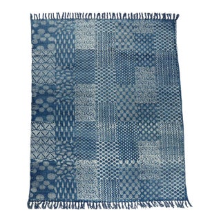 Transitional Tribal Blue and White Cotton Rug - 4′ × 6′ For Sale