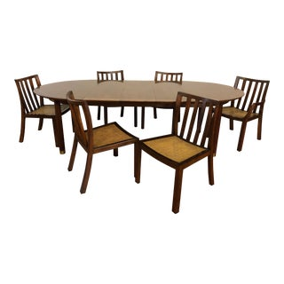 Michael Taylor for Baker Furniture Dining Set, Table, 3 Leaves, 6 Chairs - Far East Collection For Sale