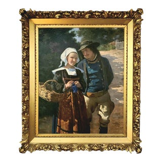 Louis H. Deshamps , French 1846-1902 Normandy Couple For Sale