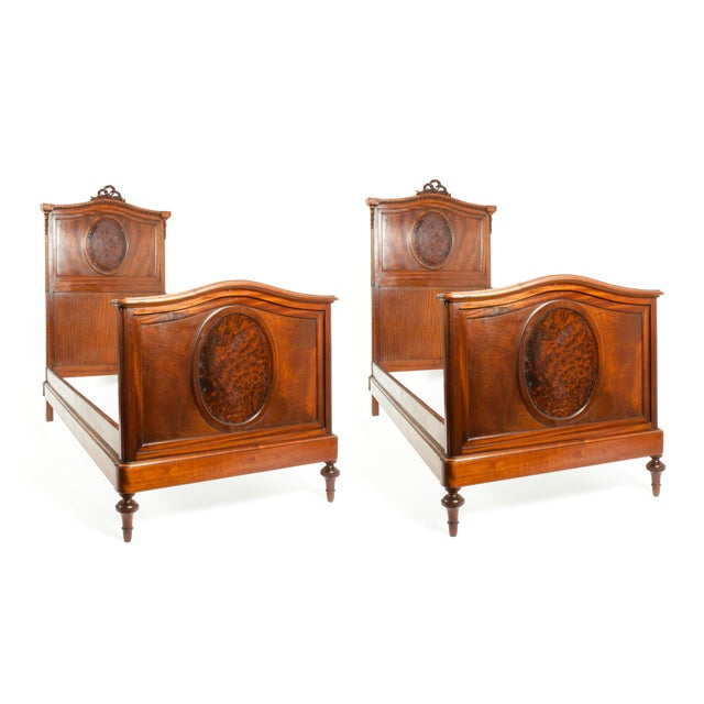 French Hand Carved Walnut / Burl Walnut Single Beds - a Pair For Sale
