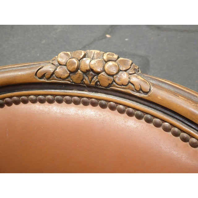 Camel French Provincial Style Brown Leather Accent Chair For Sale - Image 8 of 11