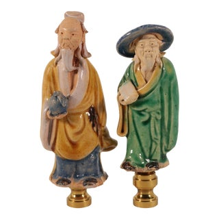 Chinese Figural Lamp Finials - a Pair For Sale