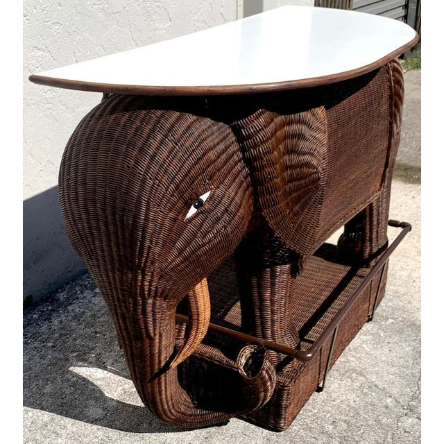 Wicker 1960s Chinese Export Wicker Elephant Dry Bar For Sale - Image 7 of 13