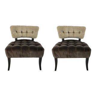 Custom Brown and Taupe Velvet Tufted Chairs Pair For Sale