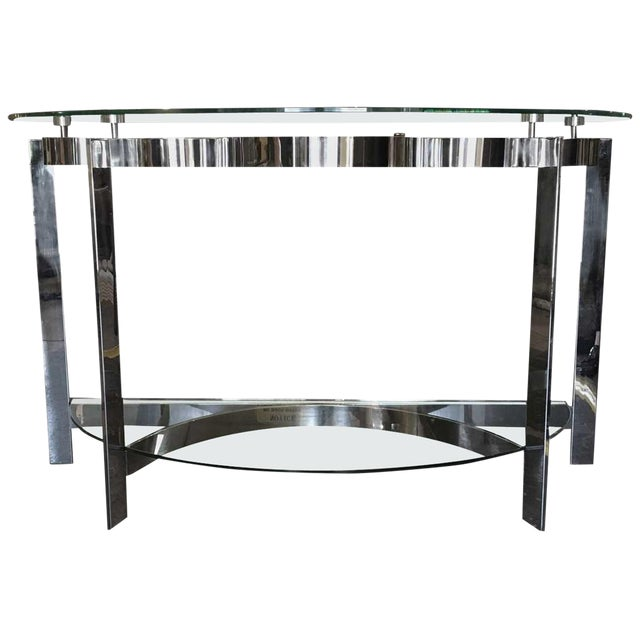 Contemporary Modern Two-Tier Demilune Console For Sale