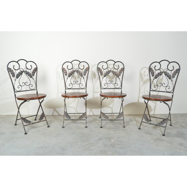 Metal 4 Folding French Bistro Chairs in Oak and Wrought Iron For Sale - Image 7 of 7