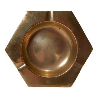 Vintage Brass Six Sided Geometric Ashtray For Sale