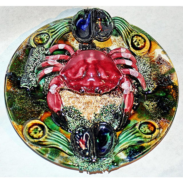 Ceramic Ceramic Majolica Crab Plate For Sale - Image 7 of 7