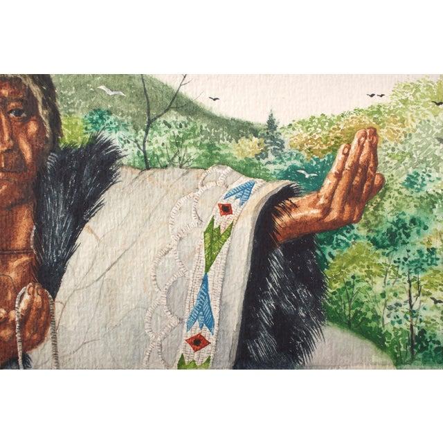 Original William Sauts Netamuxwe Bock Watercolor For Sale - Image 4 of 7