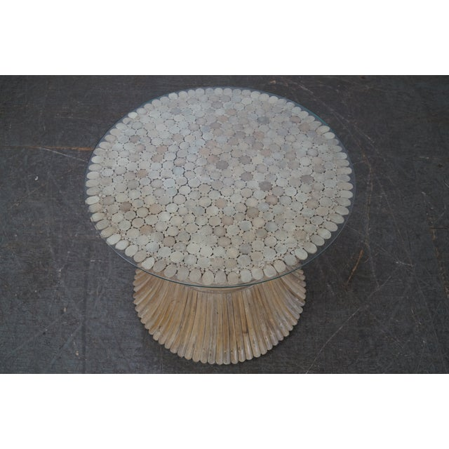 McGuire Style Rattan Wheat Sheaf Glass Top Side Table - Image 8 of 10