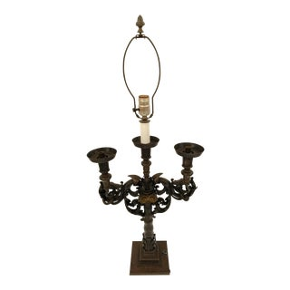 Early Wrought Iron Candlestick Lamp, 1900s For Sale