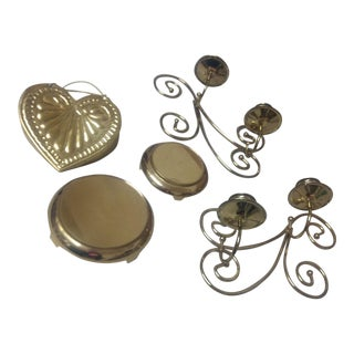 Vintage Brass Decor Set- 5 Pc For Sale
