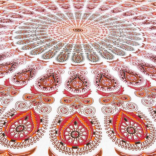 Boho Orange, Red & White Beach Blanket - Image 4 of 6