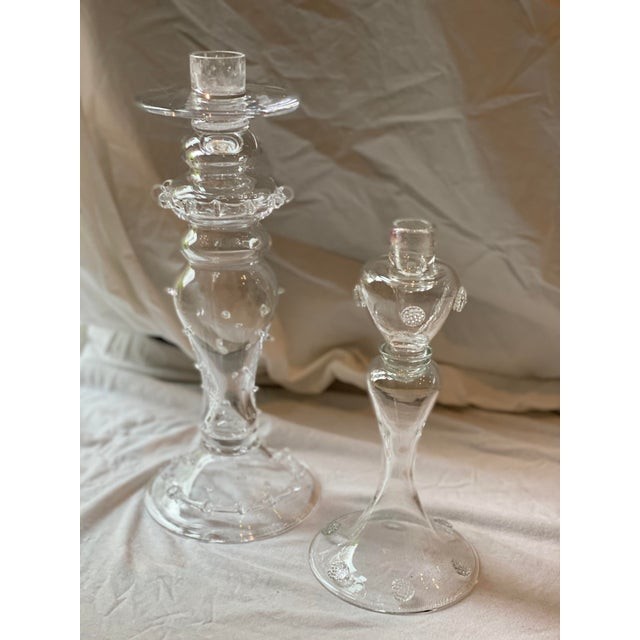 Juliska Hand Blown Crystal Candleholders - a Pair For Sale - Image 10 of 13