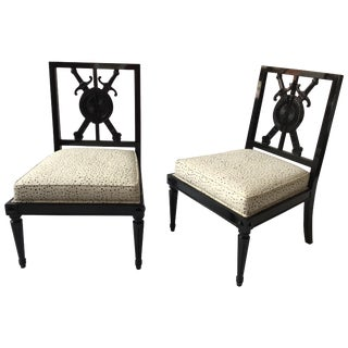 Pair of Regency Style Sword Slipper Chairs For Sale