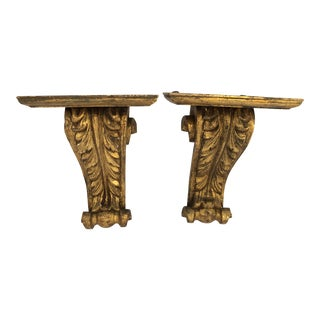 Italian Gilt Wood Brackets/Sconces With Acanthus Leaf Decor, A-Pair For Sale