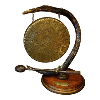 Antique English Oak Wood Deer Antler and Brass Gong For Sale