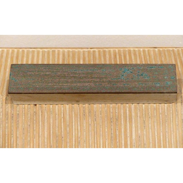 Over-Scale Maitland-Smith Box With Fossilized Stone, Reed and Brass For Sale - Image 10 of 13