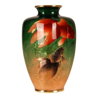 Early 20th Century Japanese Ginbari Enamel Cloisonne Fish Vase For Sale
